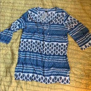 J Valdi blue printed swim cover up size large